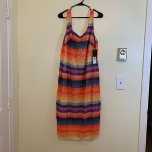 Rachael Roy Sequins Striped Rainbow Dress - US14W